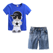 A Sports Outfit For Boy Summer Blue Fashion Streetwear T-shirt Short Denin Jean Kids A Sports Outfit for Boy Baby Boy Suit kid casual blazers suit for baby boy black child coat fashion children jacket costume for boy blue graduation suit h006