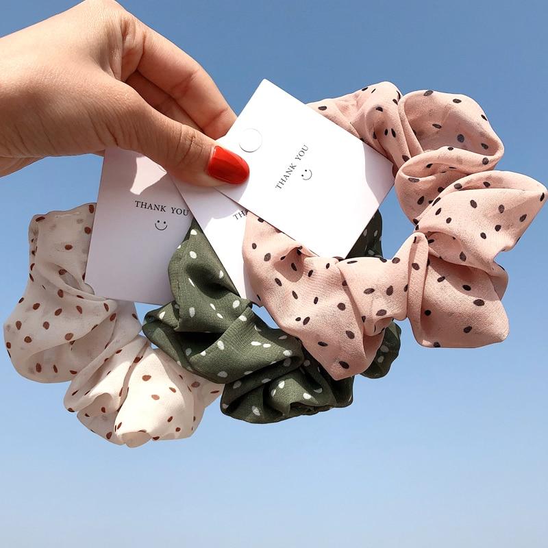 Woman Chiffon Hair Scrunchies Floral Dot Hair Ties Sweet Hair Ties Girls Hair Accessories Rubber Band Headwear Ornament Hairband
