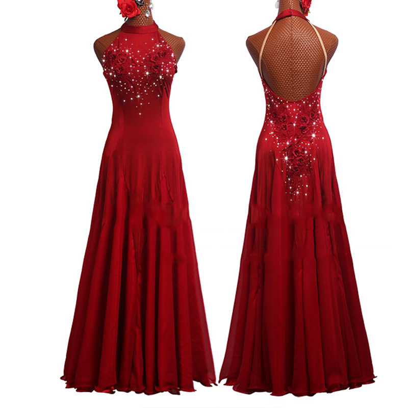 Ballroom Dance Competition Dresses Red Long Dancing Dress Stage Performing Outfit Waltz Dress Tango Wear Ballroom Dress BL2681