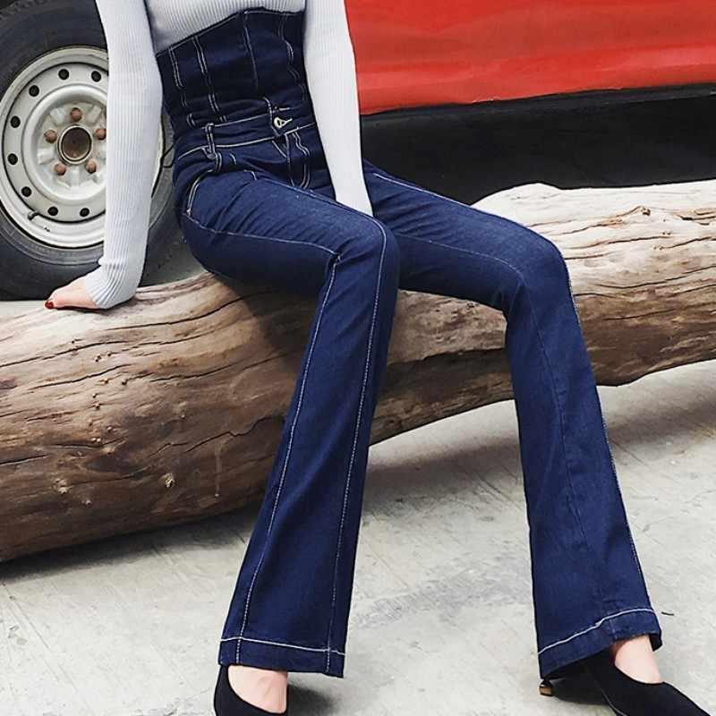 Mulheres sexy rendas até calças de brim de cintura alta ajuste fino escritório senhoras denim bell-bottomed alargamento calças compridas calças jeans casuais vintage