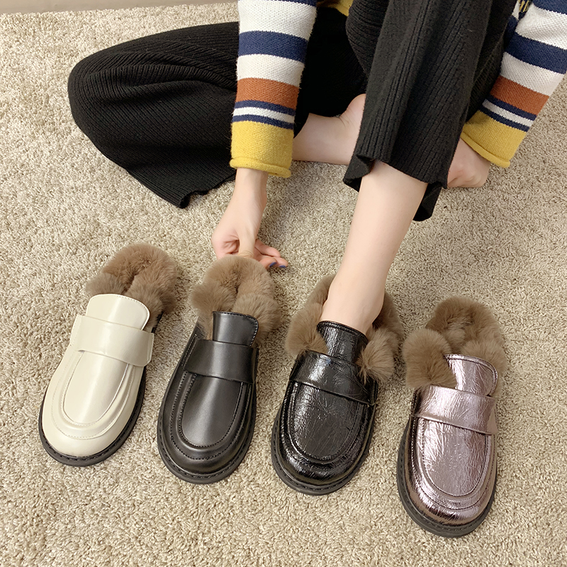 Cover Toe Female Shoes Loafers Womens Slippers Outdoor Mules Sexy Platform Slides Fur Flip Flops 2019 Soft Flat Plush PU with 26