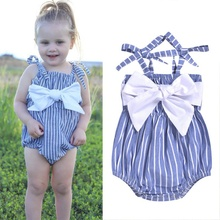 2020 Newborn Baby Girls Clothes Bow Baby Romper Bodysuit Sleeveless Striped Infant Jumpsuits Casual Outfits 2020 baby clothing newborn baby girls autumn clothes flower lace floral solid dress bodysuit outfits jumpsuits