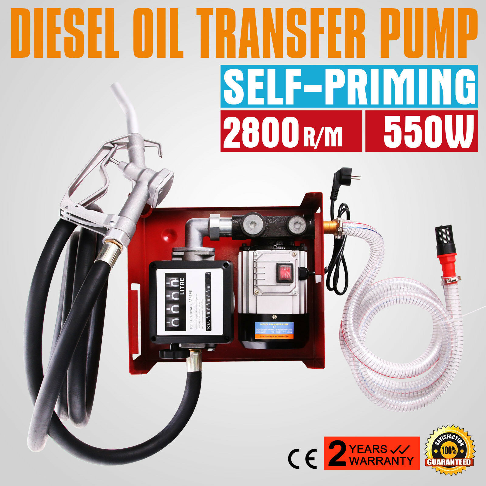 Free Shipping 60L / Min Electric Diesel Pump 220V With 5m Meter Gun Hose 550W Electric Diesel Pump Diesel Liquids Diesel Pump