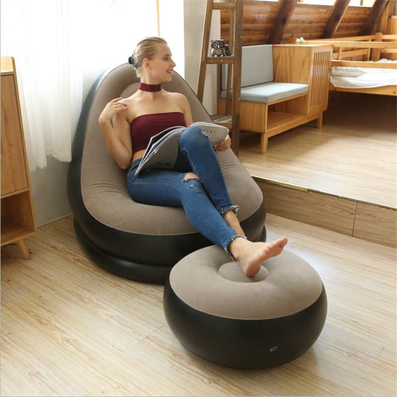 Inflatable Sofa Chair Stool Cushion Air Couch With Foot Rest For Home Camping Lounger Pvc Flocking Foldable Recliner