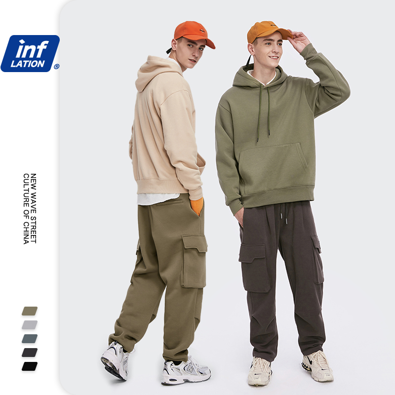 INFLATION Winter Fleece Sweatshirt Set Men Solid Color Tracksuit Couple Streetwear 2020 Loose Hoodie Set Woman Two Piece Outfit