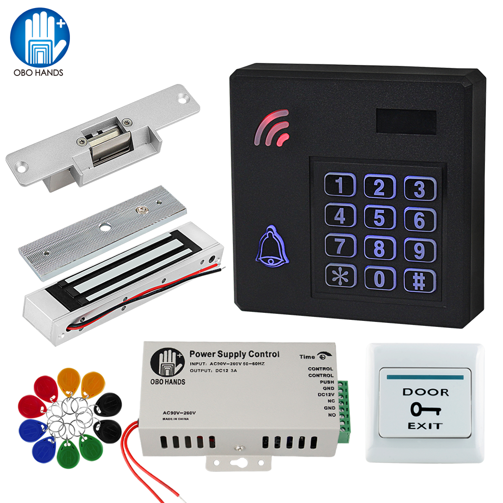 OBO RFID Door Access Control System Kit Set IP68 Waterproof Keypad Reader With Electronic Control Door Locks + Power Supply Outd