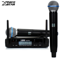 GLXD4 Professional UHF Wireless Microphone System 2 Channels Receiver For BETA 58A BETA58A Handheld Mic Micro Karaoke Mixer Sing