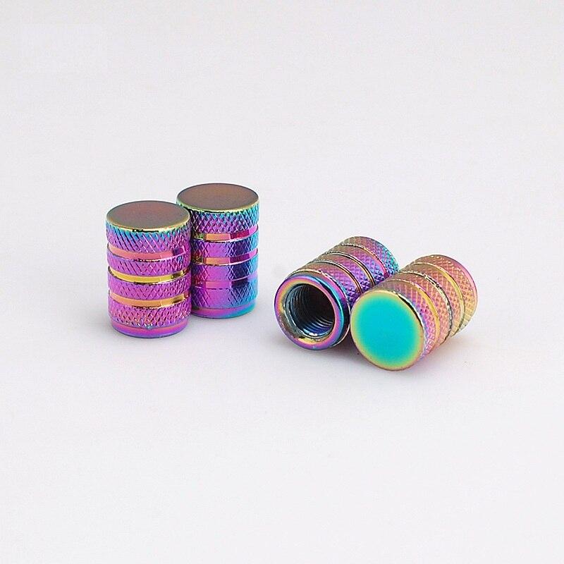 4pcs//lot Car Bike Wheel Tyre Valve Stem Caps Dust Covers Rainbow Bullet Shape