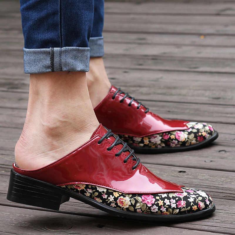 Tosjc ファッション男性カジュアルシューズパテントレザースリッパ通気性ローファースライド男屋外かわいいミュール軽量ハーフ靴