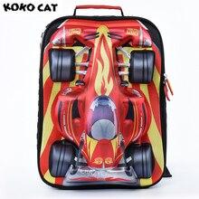 Купить с кэшбэком Cartoon 3D Kids Children School Backpack Cool Gold Car Bags Boys Bookbag  School Backpacks for Teens Boy Student Schoolbag