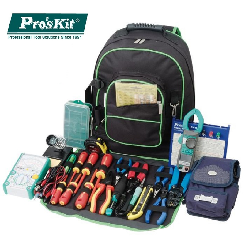 Pro'sKit 9ST-307 Multipurpose Electrician Tool Backpack Universal Travel Bag Double Shoulders Tool Bag Big Storage