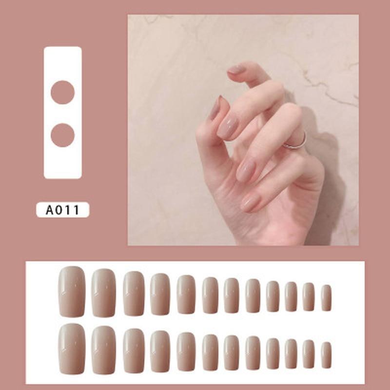 24 шт. цветные накладные ногти телесного цвета, женские носочные накладные ногти с бриллиантами, Короткие круглые накладные ногти с клеем|Накладные ногти|   | АлиЭкспресс