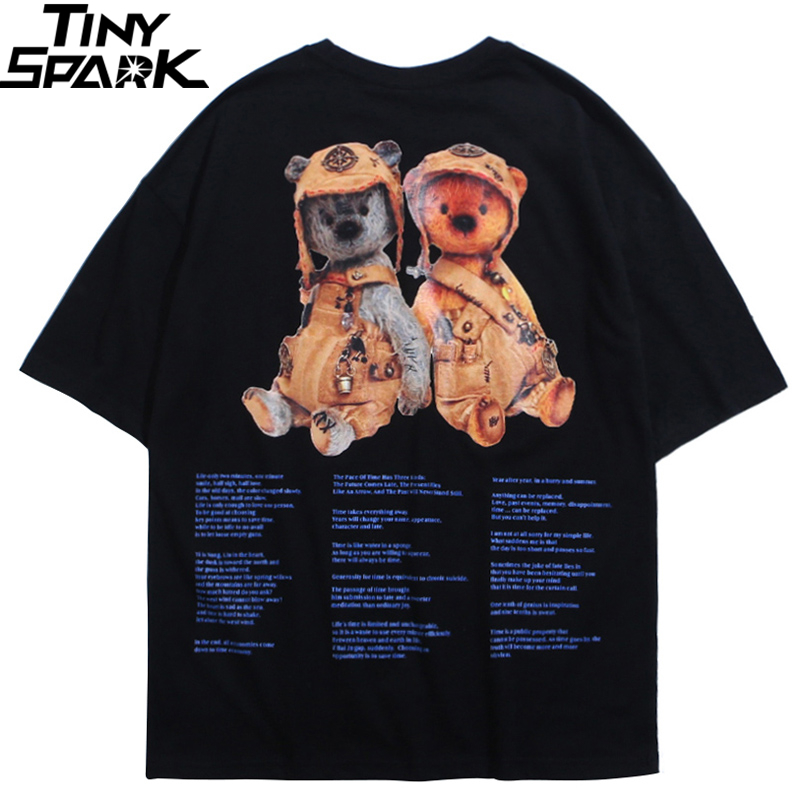 Hip Hop T Shirt Men 2020 Streetwear Harajuku Tshirt Toy Bear Printed Summer Short Sleeve T-Shirt Cotton Fashion Tops Tees Black