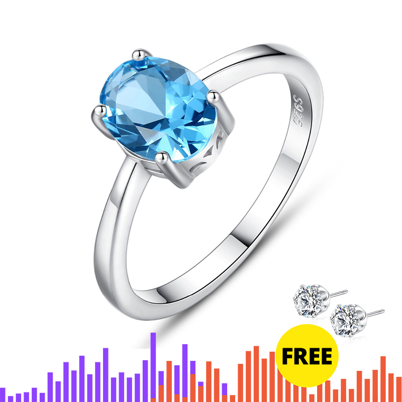 CZCITY Natural Solitaire Sky Blue Oval Topaz Stone Sterling Silver Ring For Women Fashion S925 Fine Innrech Market.com