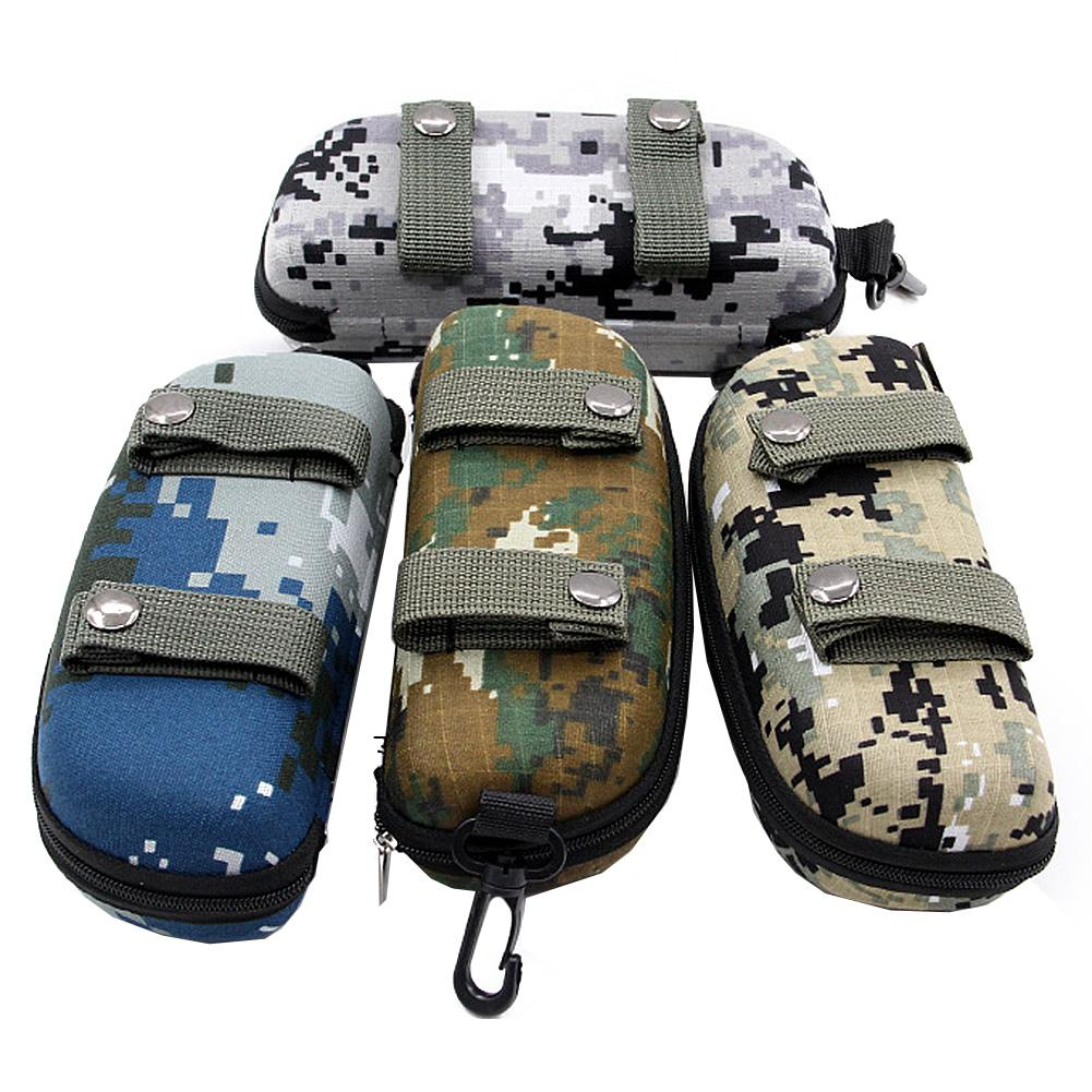 Camouflage Sunglasses Case Outdoor Portable Zipper Glasses Case Belt Sunglasses Organizer Storage Box For Outdoor Camping Hiking