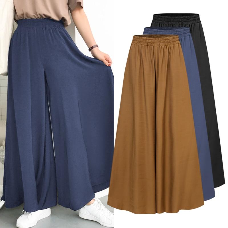 ZANZEA Women Elastic Waist Trousers Casual Summer Loose Solid Pantalon Palazzo 2021 Ladies Wide Leg Pants Capris Plus Size 5XL