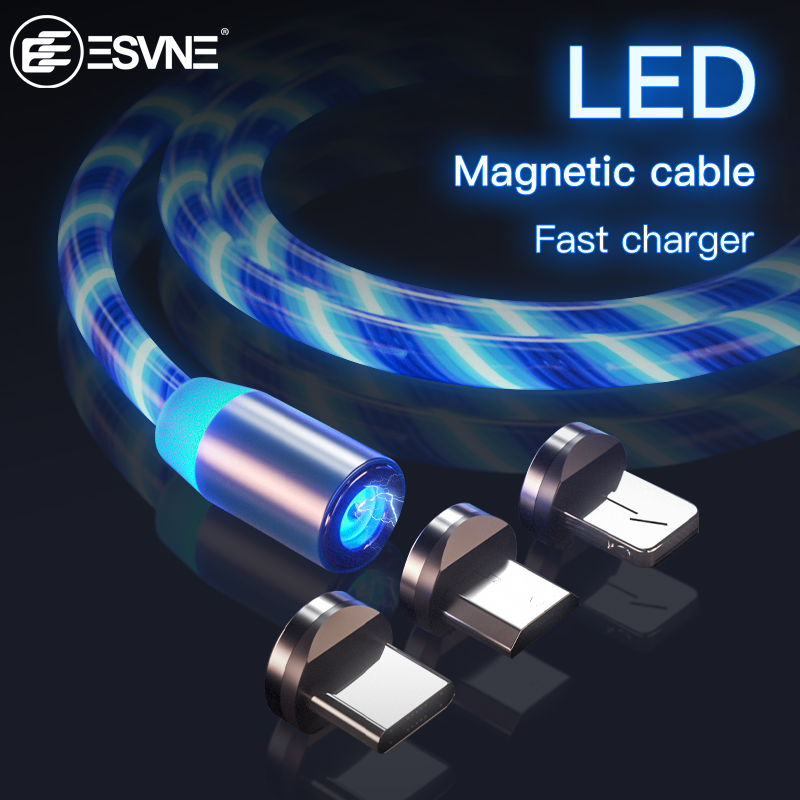 LED Glow Flowing magnetic Charger usb cable Type C Micro USB C 8 Pin Charging for iPhone