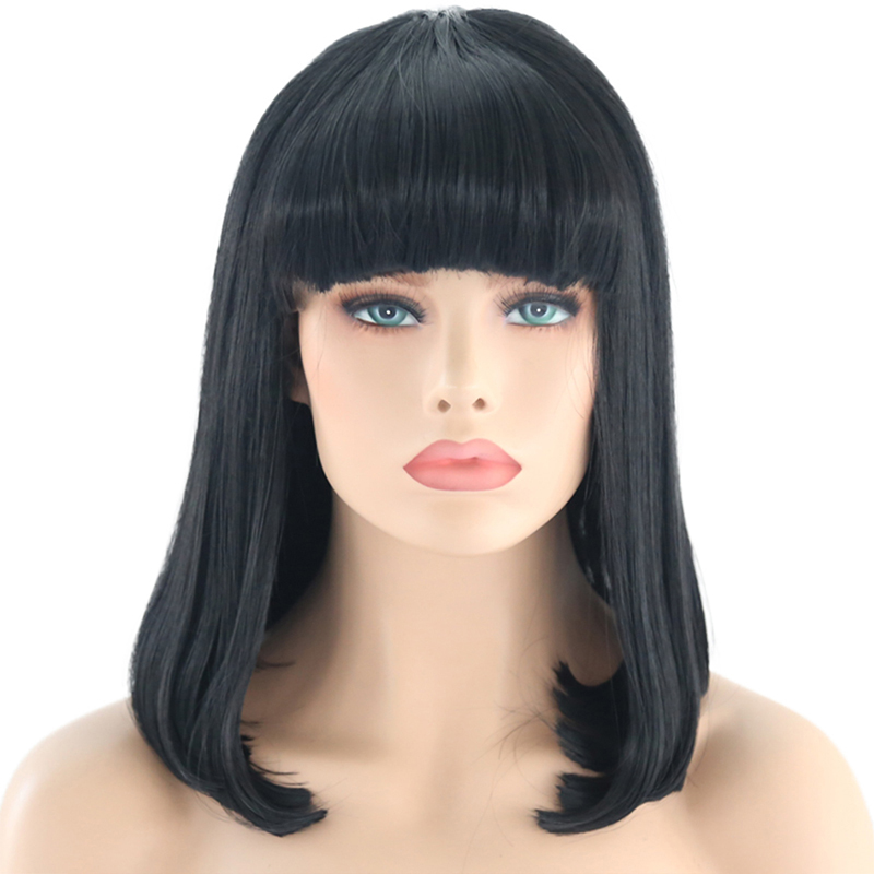 RONGDUOYI Straight Black Short Bob Synthetic Lace Front Wigs With Bangs For Women Girls Heat Fiber Hair Realistic Daily Wear Wig