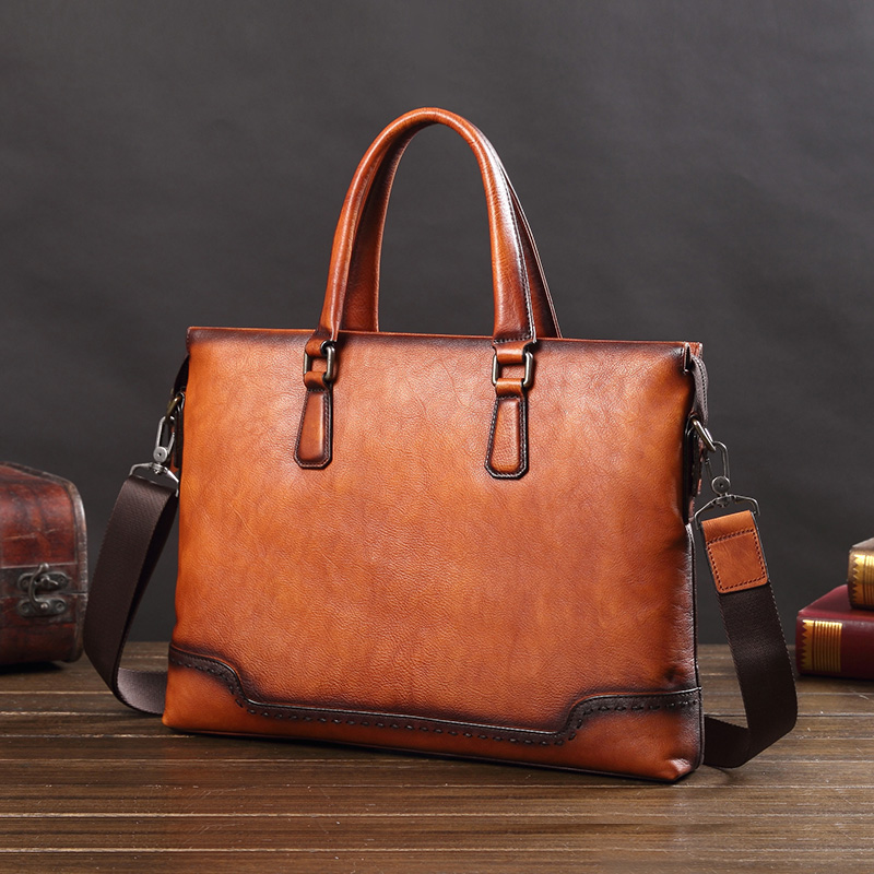 Business Genuine Leather Men's Briefcase Male 14 Inch Laptop Handbag Fashion Casual Men Shoulder Slung Computer Bags