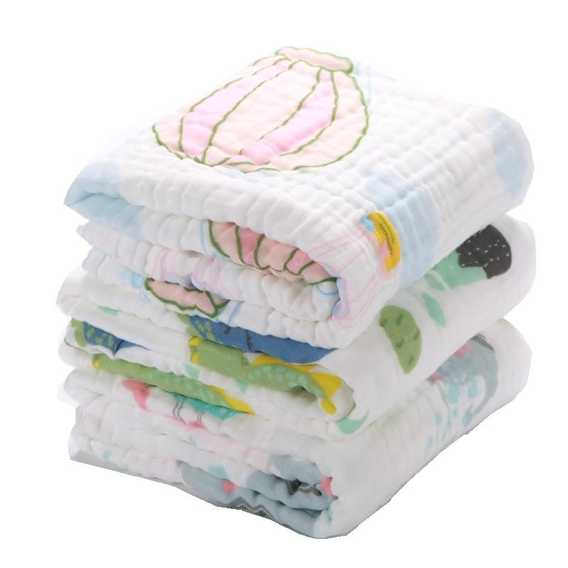 Lashghg Muslin Swaddle Baby Blankets Swaddling 100% Cotton Swaddle Wrap For Newborn Babies 6 Layer Bath Towel Blanket Bedding