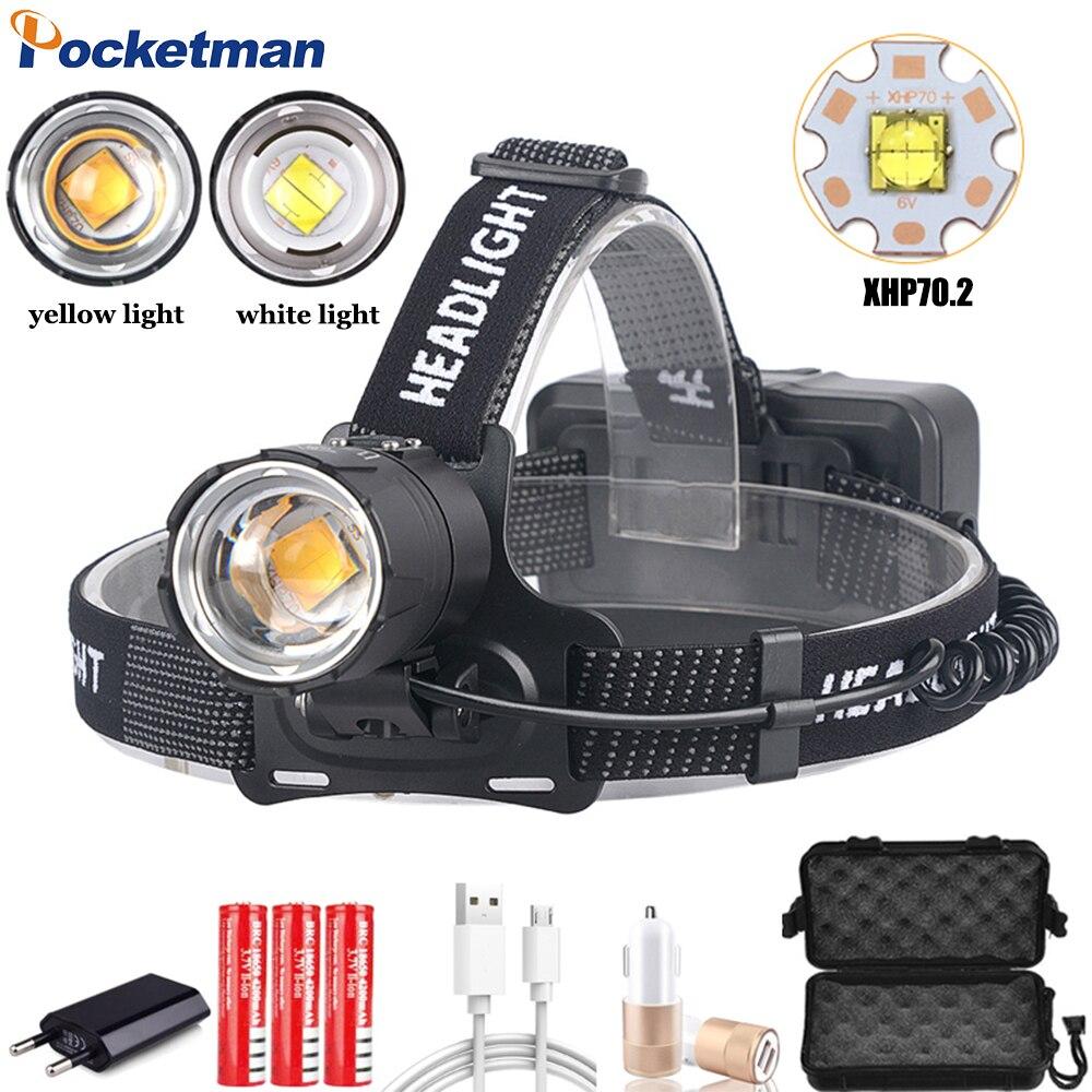 Pocketman Headlamp Powerful XHP70.2 LED Headlight Zoom Head Light Waterproof Head Lamp Of Yellow White Lighting 18650 Battery