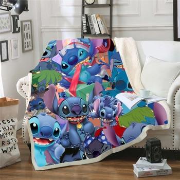 Throw blanket Cartoon Lilo & Stitch 3D Velvet Plush Blanket Bedspread For Kids Girls Sherpa Blanket Couch Quilt Cover Travel 011