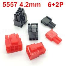 10 pçs/lote 5557-R 5557 4.2 milímetros Preto/Vermelho 6 + 2PIN cablagens para automóveis conector macho para PC/computador placa gráfica PCI-E De Energia