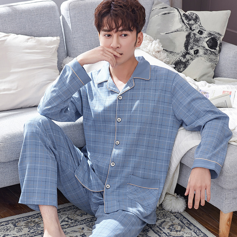 100% Cotton Pajams Men Spring Long Sleeves Button-Down Pijamas Set 2Pieces Mens Pure Cotton Plaid Nightwear PJs Set Blue Pyjama