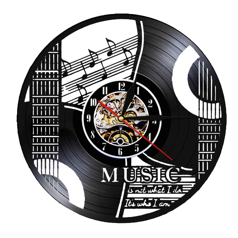 Vinyl Record Wall Clock Musical Note Instrument Wall Clock Wall Hanging Clock (without Lamp Shipment without Battery)