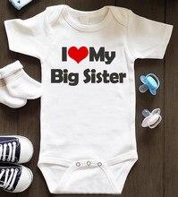 Eu amo minha irmã mais velha impresso infantil macacão do bebê recém-nascido crianças da criança macacão redondo algodão menino menina macio 0-24m 5008