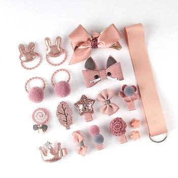 18Pcs/Set Baby Girl Cute Headband Turban Darling Bows Kids Headwear Elastic Hair Bands Clips Hairpins Set Baby Accessories Gift - Pink 1 18Pcs