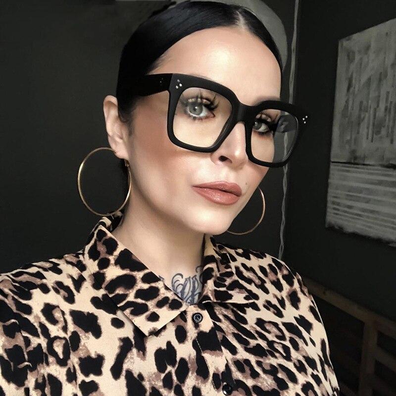 Seemfly Oversized Square Glasses Frame Women Men Trendy Big Frame Spectacles Frames For Ladies Optical Eye Glasses Oculos Female