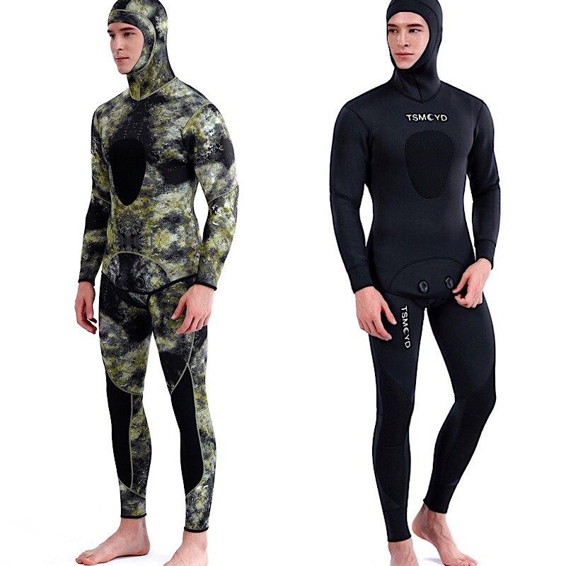 TSMC 3 мм камуфляжная футболка с длинными рукавами деления с капюшоном комплект из 2 предметов, с неопрен подводный костюм для Для мужчин Утепл...