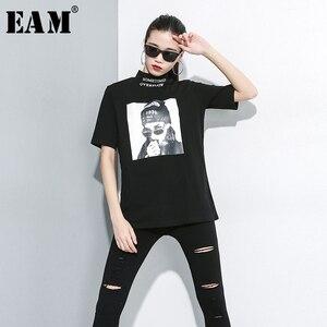 [EAM] Women Black White Pattern Print Loose Fit T-shirt New Turtleneck Half Sleeve Fashion Tide Spring Autumn 2020 1A693