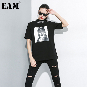 [EAM] Women Black White Pattern Print Loose Fit T-shirt New Turtleneck Half Sleeve Fashion Tide Spring Autumn 2021 1A693 - discount item  32% OFF Tops & Tees