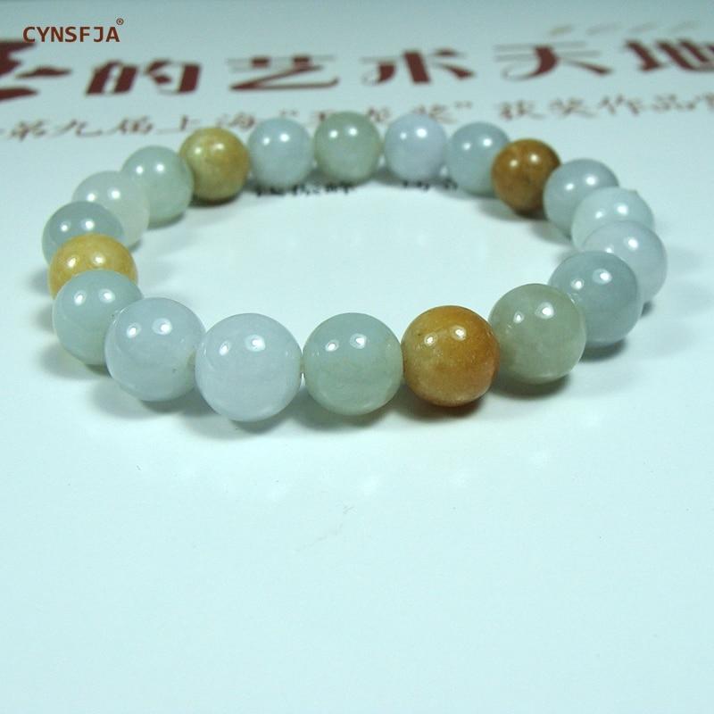 CYNSFJA Real Raro Certificado Grau UM Birmanês Natural Jadeite Sorte Amuletos Encantos 9.5 milímetros Talão Pulseiras de Jade Pulseira de Alta Qualidade belas Jóias Melhores Presentes