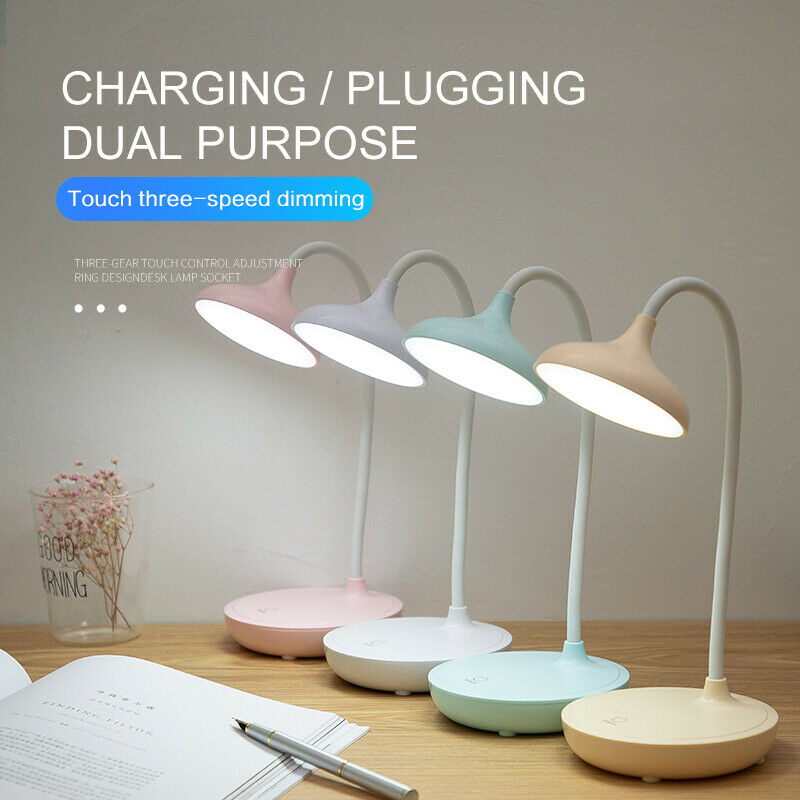 Dimmable Touch Sensor USB Charge LED Desk Table Night Bedside Reading Lamp Light Flexible Adjustment Charging Plugging Lamp