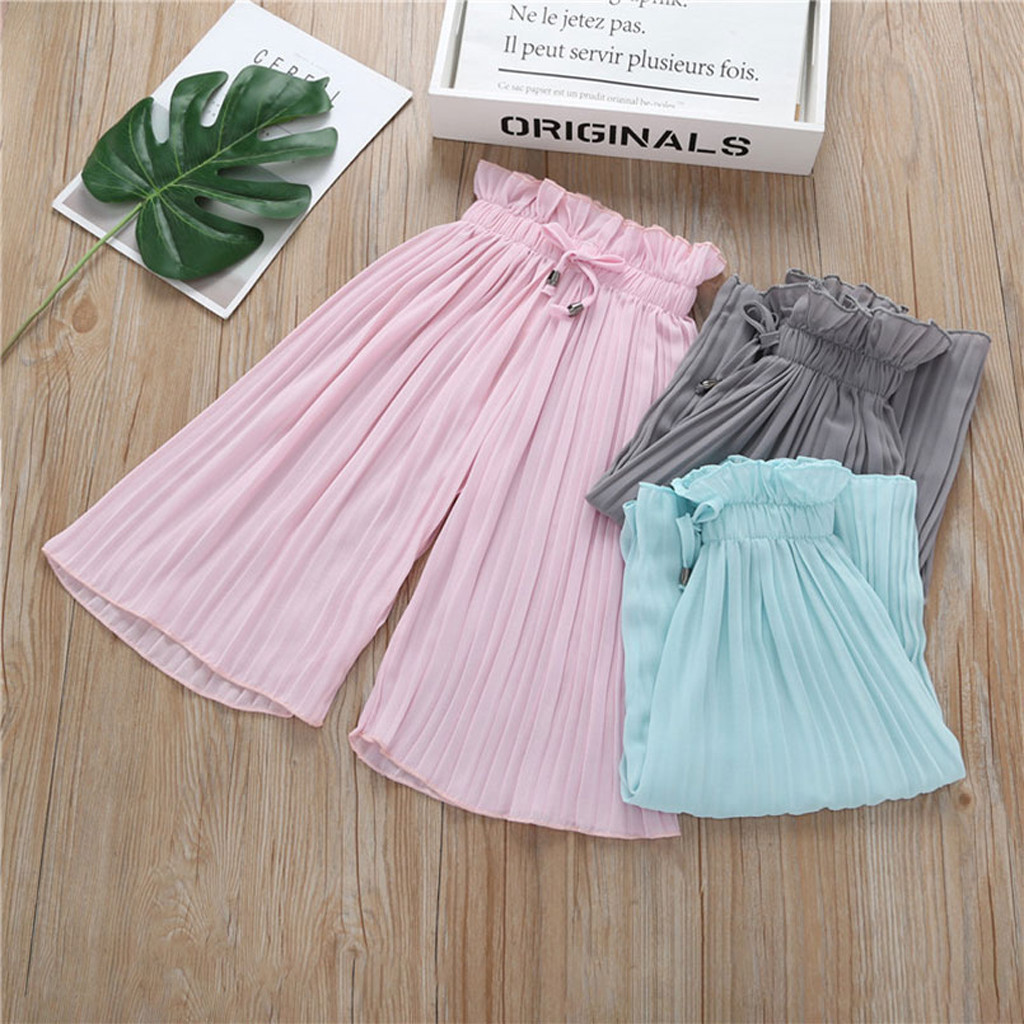 Children Kids Baby Girls Letter T Shirt Tops+Ruffle Loose Pants Outfits Costume