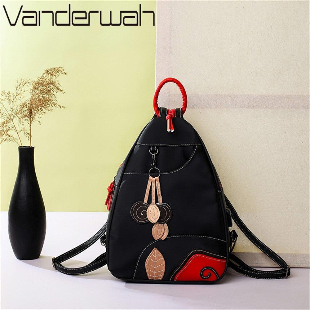 VANDERWAH 2018 USB Multifunction Backpack NEW Fashion Leaves Style Women Backpack For Teenger Girls Women's Shoulder Bag Mochila