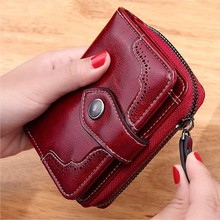 Purse Clutch Wallet Damski High-Quality Coin-Card-Holders Portfel Zipper Hasp Women Oil-Wax