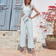 Women's Wide Leg Jumpsuits Romper Solid High Waist Ruffle Lace Up Sleeveless Straight Jumpsuit Elegant For Women Summer 2021
