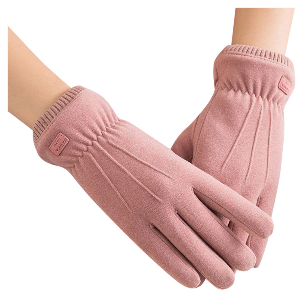 New Winter Female Warm Cashmere Cute Bear Mittens Double Thick Plush Wrist Women Touch Screen Driving Gloves #YL5