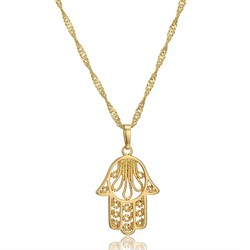 Classic Hamsa Hand of Fatima Charm Pendant Necklaces for Women Gold Color Palm Chokers Collar Jewelry Collier Femme Dropshipping