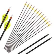 Toparchery Flecha de carbono puro de 32 pulgadas, Flecha de tiro con 300/350/400, diámetro de 6,2mm, flechas de tiro para arco recurvo, caza al aire libre