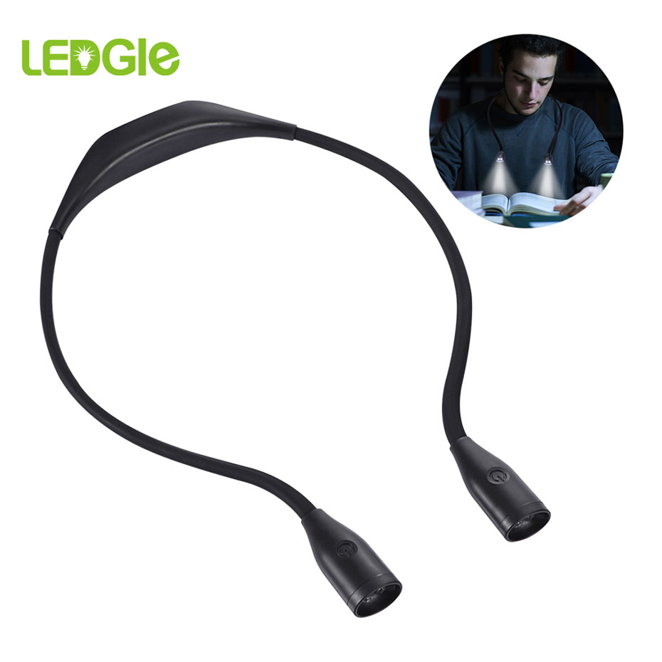 LEDGLE 2020 Lightweight Book Light Flexible Handsfree Lamp Rechargeable Reading Lamps Novelty Led Night Light Flashlight Lampe