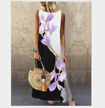 Sundress Women Summer Dress 2020 Printing Sexy Dress Midi Plus Size Casual Linen Loose Sleeveless printed Long Maxi Dress