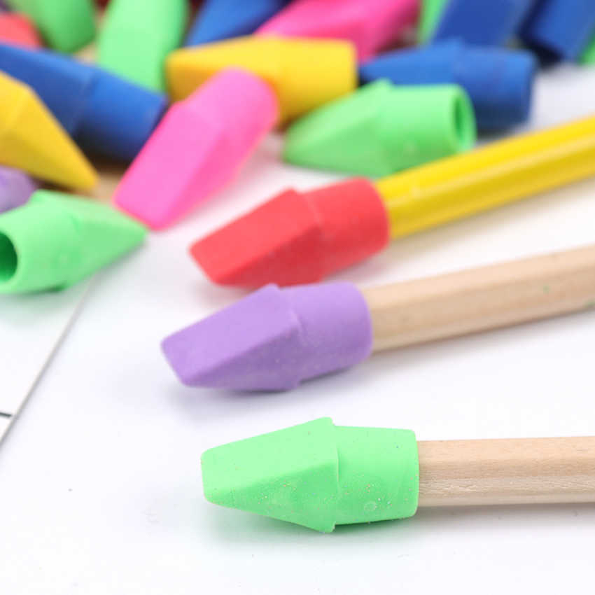 10 PCS Erasers Pencil Top Eraser Caps Chisel Shape Pencil Eraser Toppers Student Painting Correction Supplies Stationery