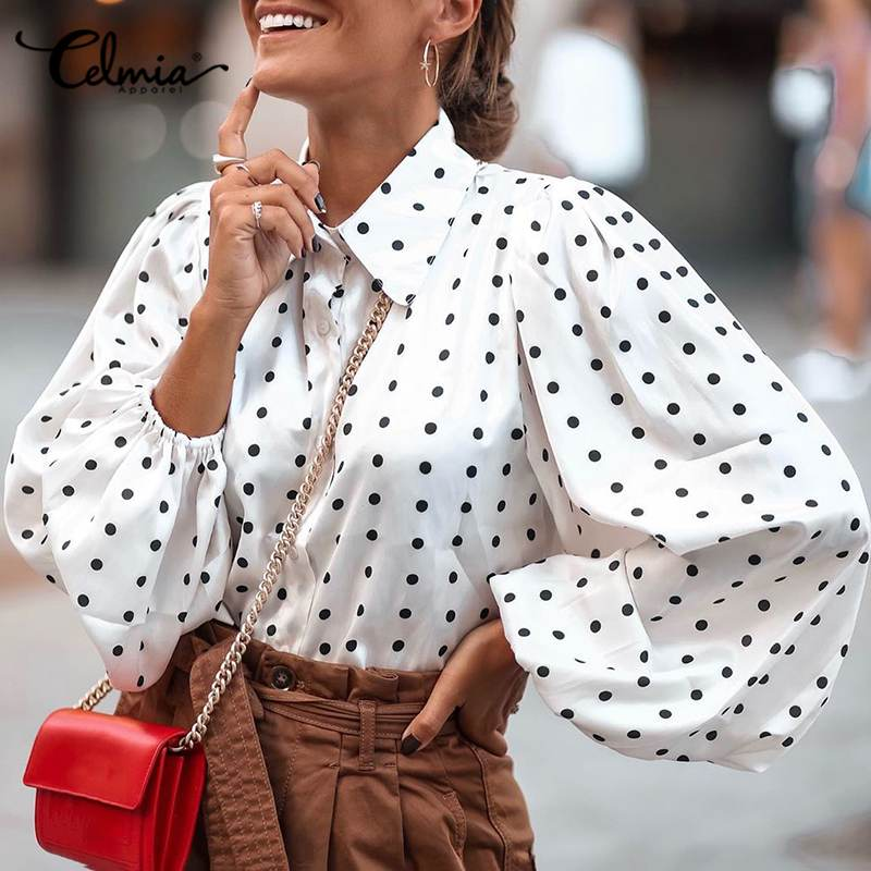 Stylish Tops Celmia Women Polka Dot Lantern Sleeve Blouses Casual Loose Lapel Neck Elegant OL Ladies Shirts Long Sleeve Blusas