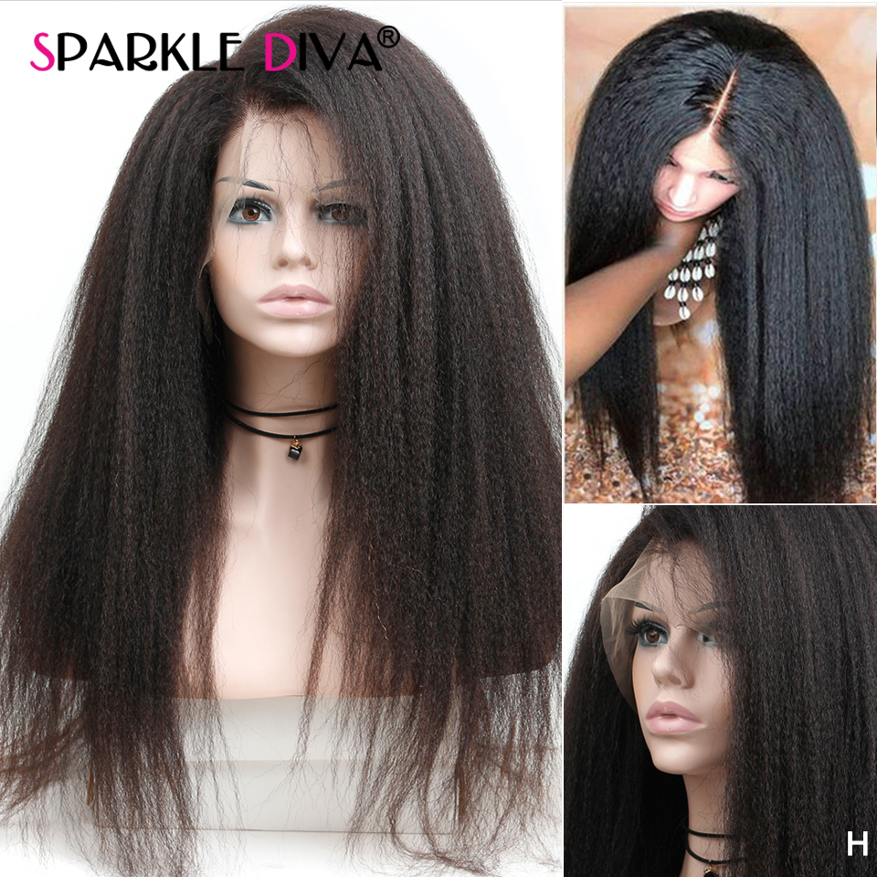 Glueless Lace Front Human Hair Wigs Brazilian 13*4 Lace Front Wig Kinky Straight Remy Hair Wig 150% Human Hair Wigs For Women