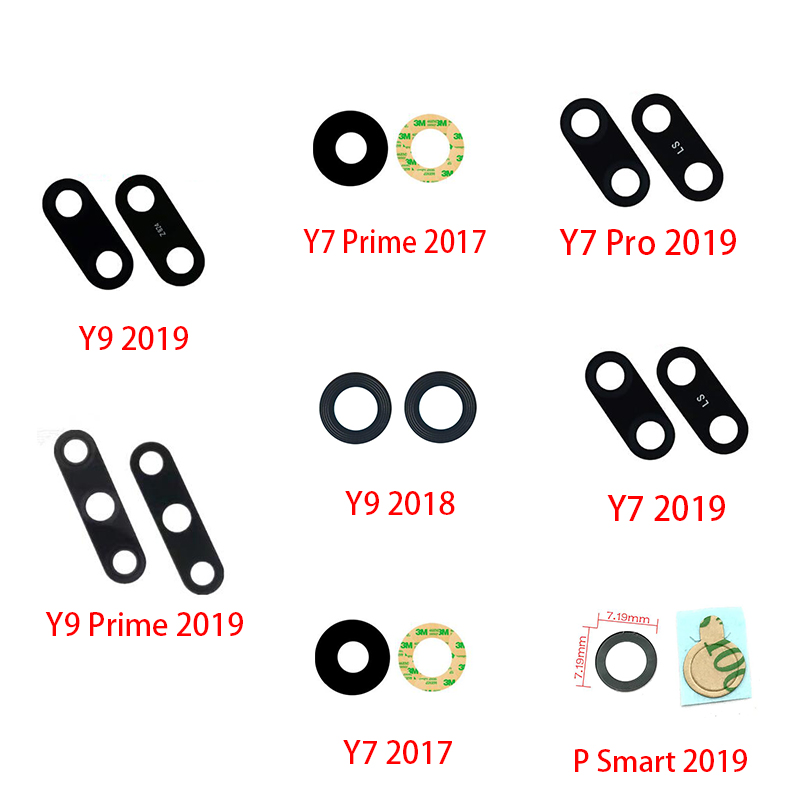 5Pcs/lot Rear Back Camera Glass Lens For Huawei Y5 Y6 Y7 Pro Y9 Prime 2017 2018 P Smart 2019  Camera Glass With Glue Adhesive